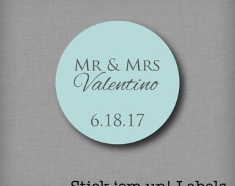 Custom Mr and Mrs Wedding Stickers, Favor Labels, Bridal shower stickers, Personalized wedding stickers