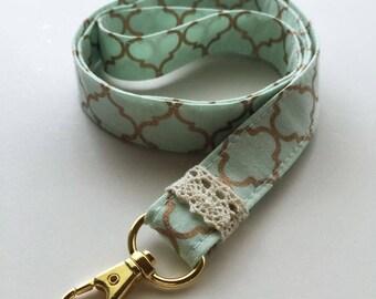 Lanyard - mint green lanyard - neck lanyard - mint neck lanyard - gold key fob - mint and gold - mint ID badge holder - gold school lanyard