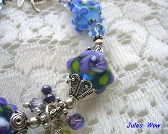 SALE - Spring Blue And Purple Flowers Lampwork Sterling Bracelet