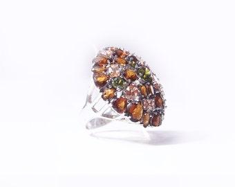 Silver ring, citrine, smoky quartz and peridot