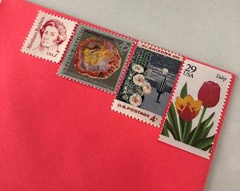 Vintage Postage Stamp Set- Flamingo Pink