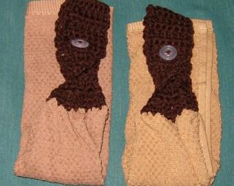 Two Crochet Hanging towels, Lt.  brown towel, Dk Brown top