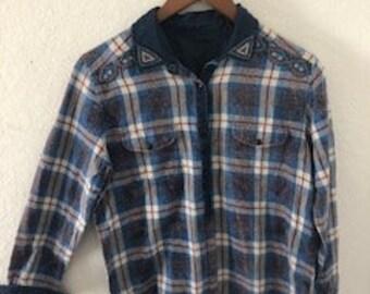 Custom beaded flannel