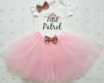 Petal Patrol Outfit...Rehearsal Dinner Gift...Flower Girl...Petal Patrol...Wedding Rehearsal...Flower Girl Gift...Flower Girl Outfit