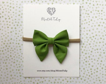 St. Patrick's Day Spring Green Small or Large Sailor Fabric Bow on Nylon Headband or Alligator Clip Baby Toddler Kids