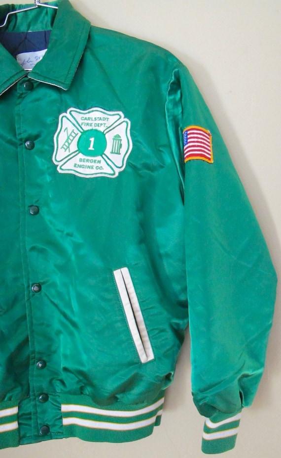 Vintage 1970's Kelly Green Silky Satin Bomber Firefighter Varsity Sports Team Jacket Size Large 1fKjOHE4ce