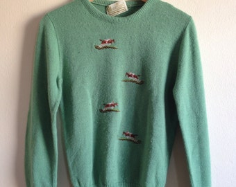 Horse Riding Light Green The Kings Road 70s Vintage Sweater