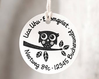 Round stamp large with owl Ø 5 cm