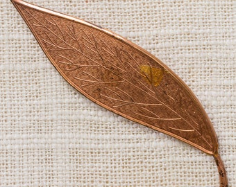 Copper Leaf Brooch Etched Simple Vintage Broach Pin 7YY