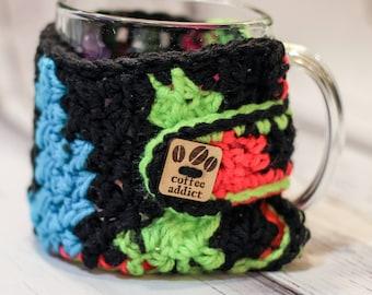 Crochet cup cozy mug cozy acrylic yarn with coffee addict button