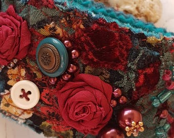 """Bracelet """"Evening"""" from fabric. Boho style. A gift for her."""