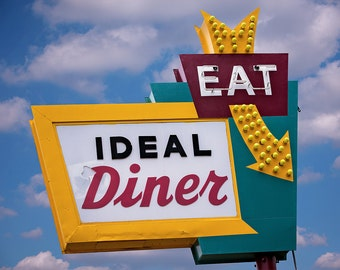 Ideal Diner Sign Neon Art Print | Retro Kitchen Decor | Minneapolis Art | Retro Home Decor | Retro Kitchen Art | Diner Decor | Eat Sign