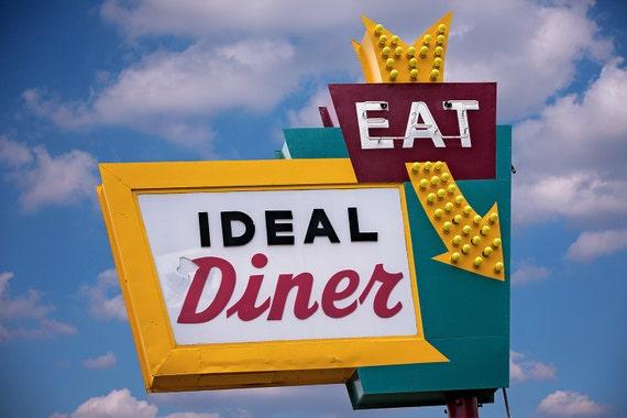 Ideal Diner Sign Neon Art Print Retro Kitchen Decor