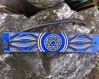 Blue heartagram hand carved leather bracelet  - tooled leather