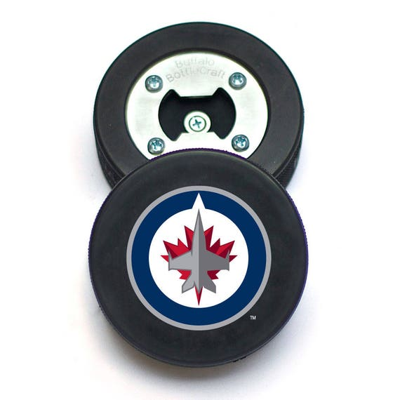 Winnipeg jets bottle opener made from a real hockey puck like this item mozeypictures Choice Image