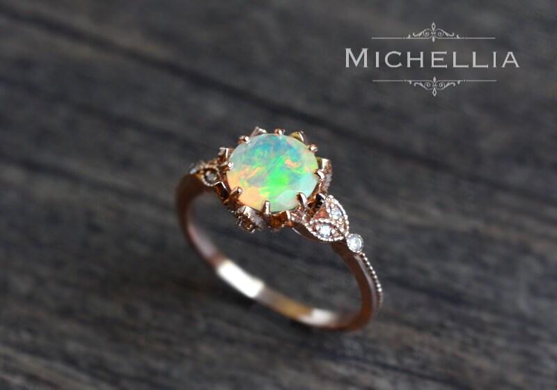 Vintage Floral Ring in Opal Ethiopian Fire Opal Leaf