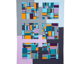 """Art Quilt, Quilt Art, Wallhanging. Motif #15. 51""""H x 35""""W. Pieced and quilted in 100% cotton, hanging sleeve."""
