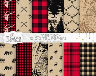 Rustic lumberjack buffalo plaid - 12 wild woodland digital papers - DIRECT DOWNLOAD