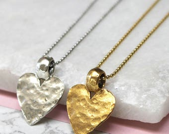 Hammered heart necklace - Valentines - birthday - best friend - sister - present - Gift for her