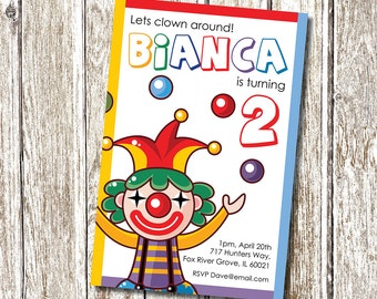 Clown Party Invitation - Lets Clown around!  - Printable and Personalised