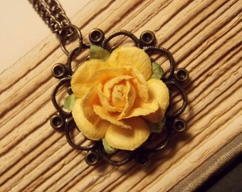 Yellow and Bronze Paper Rose Necklace
