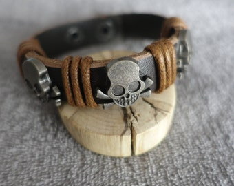 leather bracelet skull bracelet beads bracelet fashion bracelet men women
