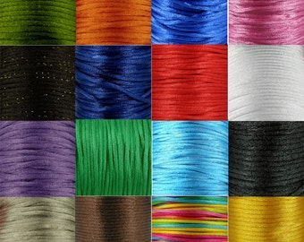 3mm x 5m Satin Rattail Silk Cord Lots of Colours to choose From for Jewellery Making and Craft