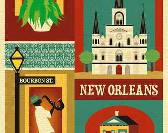 New Orleans Print, New Orleans LA Art, New Orleans Map, NOLA Art, New Orleans decor, Big Easy, Jazz Print, Vertical city, style E8-O-NOLA