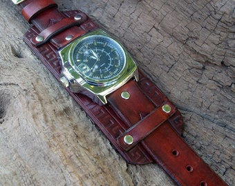 Mens Leather watch, Right-hand wrist watch,  Leather cuff watch, Leather Wrist Watch, British Tan