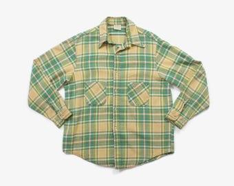 Vintage 70s PLAID SHIRT / 1970s Men's Heavy Weight Cotton Work Shirt XL drVB72II