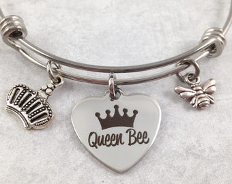 Queen Bee Bracelet, Queen Bee Bangle, Crown Charm, Bee Charm, Gift for Mom, Gift for Her