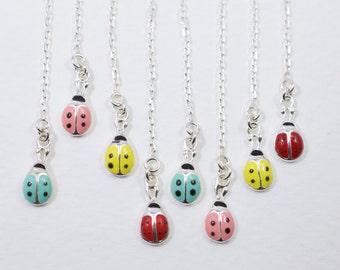 Boucle d'oreille - Boucles d'oreilles argent coccinelle - coccinelle émail boucles d'oreille - Boucles d'oreilles chaîne - bijoux émail - choisissent la couleur