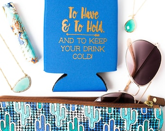 Bride Tribe Drink Coolers  | Royal Blue Bachelorette Party Favors, Metallic Gold Arrow Bride Tribe Drink Cooler, Beer Bottle Can Holders