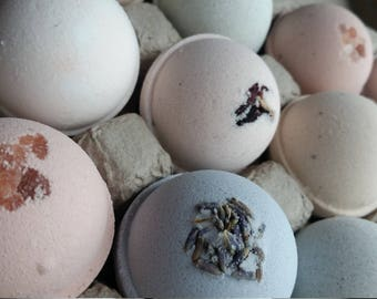 Fizzing Bath Bombs Fizzies - Naturally Colored Bombs, Botanical Ingredients, Luxury Additions - Compostable Packaging