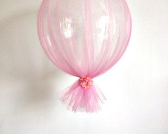 Pink tulle peach flower wedding clear balloon