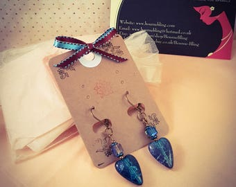 Bronze and Truquoise Glass Heart Lever Back Earrings [E144]