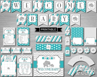 DIY Teal Green Elephant Baby Shower Decorations Package Games Food Labels Banner Printable Digital PDFs Instant Download-Welcome Baby