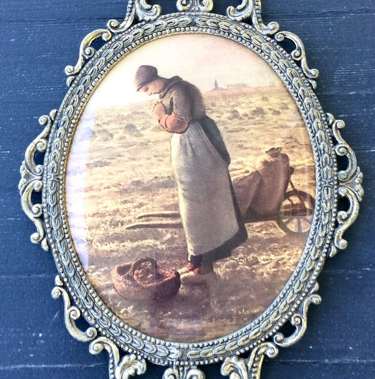 Vintage large 17 ornate brass oval frame wconvex glass pioneer sold by yellowhousedecor jeuxipadfo Images