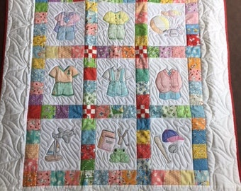 Classic 1960's Charming Baby Boy Quilt, Keepsake, Heirloom, Baby Shower Gift, 1930's reproduction fabrics, colored fabric