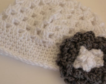 Crocheted Baby Hat, Baby Hat with Flower, White and Gray Baby Hat, Photo Prop Hat, Baby Girl Crochet Hat, 6 - 9 Month Old Baby Girl Hat