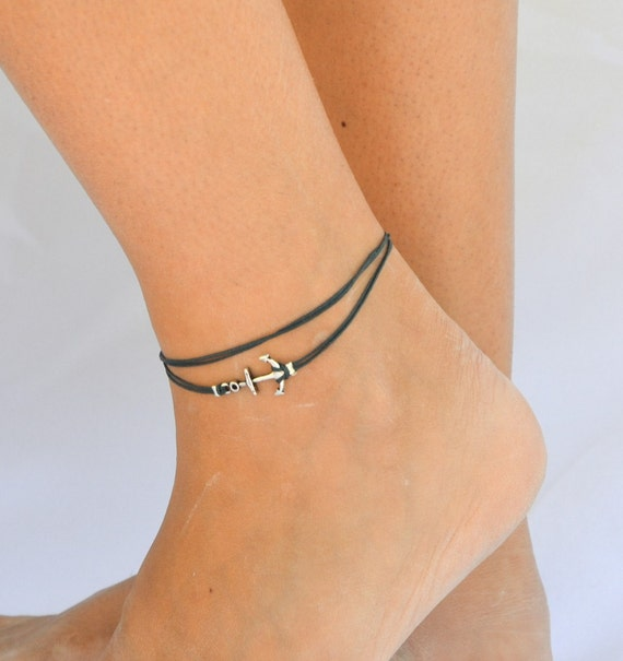 anchor anklet blue dainty wrap anklet with a silver anchor. Black Bedroom Furniture Sets. Home Design Ideas