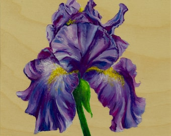 Purple Iris Painting in Acrylic on wood panel.