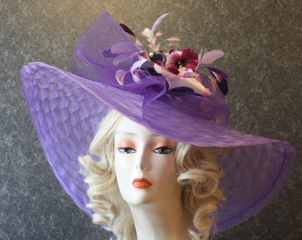 Lavender Kentucky Derby Hat, Derby Hat, Easter Hat, Garden Party Hat, Tea Party Hat, Church Hat, Downton Abbey Hat, hat Lavender Hat 032