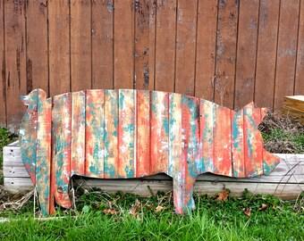 Pig Rustic Wood Cut Out, Wooden Pig Outline, Rustic Pig, Large Pig, Pig Sign, Pig Art, Pig Decor