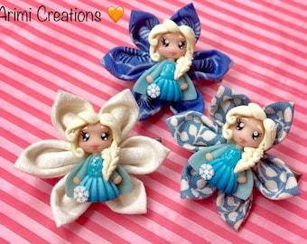Hair brooch, Elsa hair pin, hair for girl, Arimi creations, handmade, gift, bow, princess, Frozen