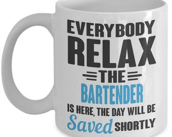 Saving The Day Bartender Mug. Best Bartender Gift. Funny Bartender Coffee Mug. 11oz 15oz Coffee Mug.