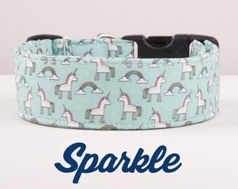"""Unicorn dog collar, rainbow dog  collar, glitter dog collar, girly dog collar, Magical Dog Collar Yorkie Dog Collar, Cute Collar """"Sparkle"""""""