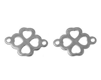 SET of 3 clover connector charm lucky silver heart (A42)