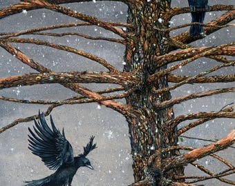 "Watercolor print, ""Corvus Corvidae and the Cedar"" by Maggie Vandewalle, 8"" x 10"" matted to fit an 11"" x 14"" frame"