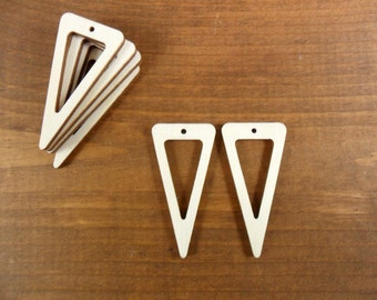 """Wood Triangle Dangle Earring Blanks  2"""" H x 1"""" W x 1/8"""" (50mm x 25mm x 3mm) Laser Cut Wood Jewelry Shapes - 20 Pieces"""